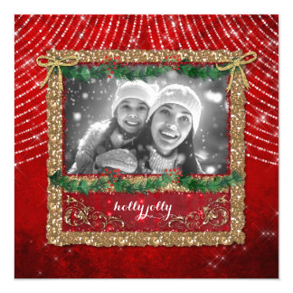 Christmas Red Lights Gold Glitter Photo Card
