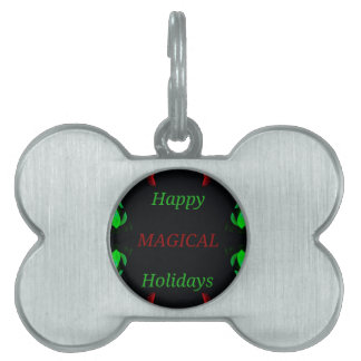 Christmas Red 'Magical' & Green 'Happy Holidays' Pet Name Tag