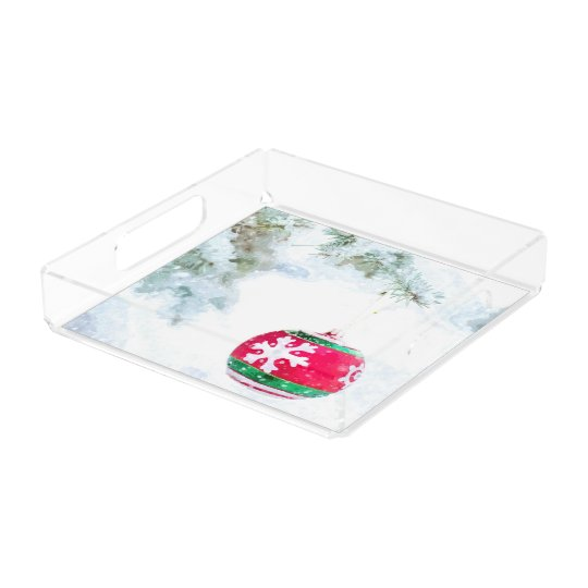 Christmas red ornament pine white snow classic acrylic tray