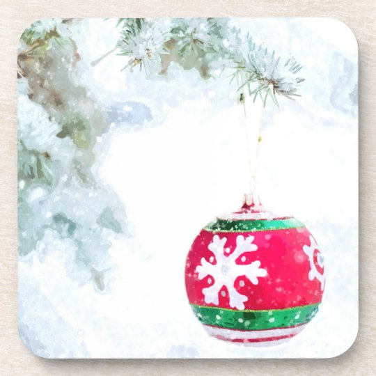 Christmas red ornament pine white snow classic coaster