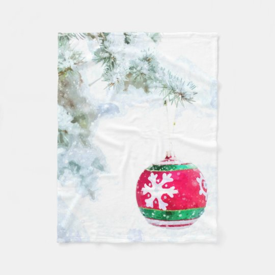 Christmas red ornament pine white snow classic fleece blanket