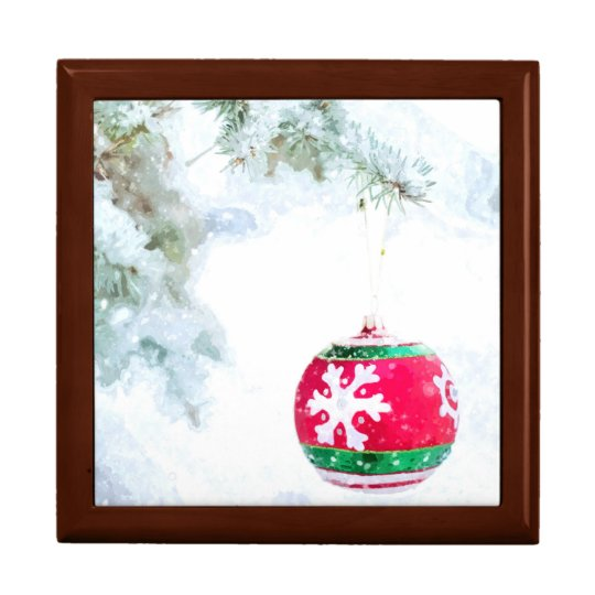Christmas red ornament pine white snow classic gift box