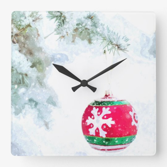 Christmas red ornament pine white snow classic square wall clock