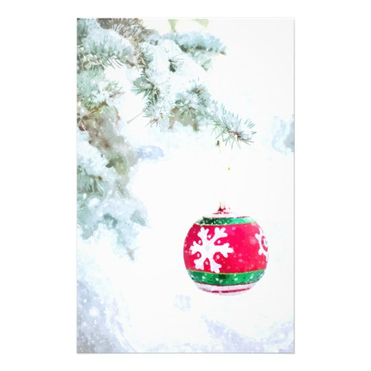 Christmas red ornament pine white snow classic stationery
