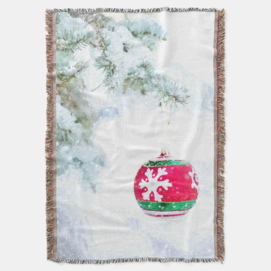 Christmas red ornament pine white snow classic throw blanket