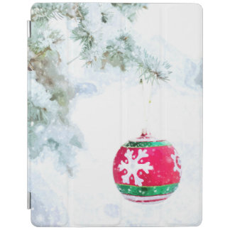 Christmas red ornament white snow classic iPad cover