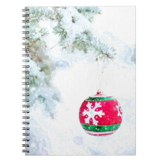 Christmas red ornament white snow classic notebooks