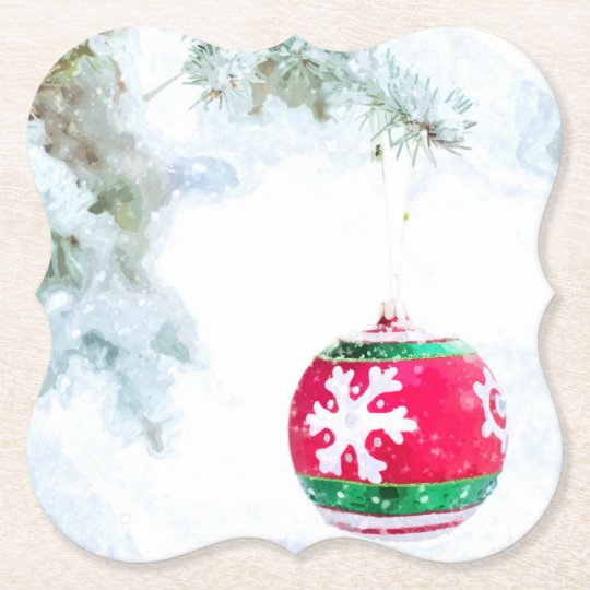 Christmas red ornament white snow watercolor paper coaster