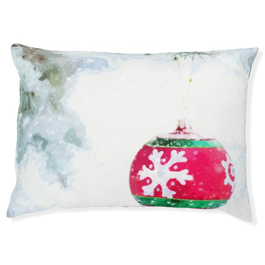 Christmas red ornament white snow watercolor pet bed