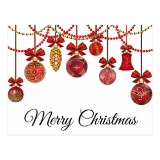 christmas red ornaments postcard