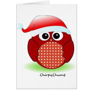 Christmas Red Owl Greeting Card