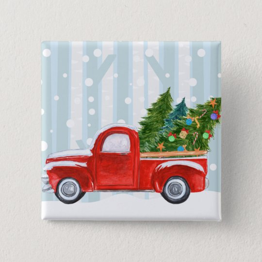 Christmas Red PickUp Truck on a Snowy Road 15 Cm Square Badge