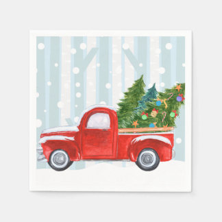 Christmas Red PickUp Truck on a Snowy Road Disposable Napkin