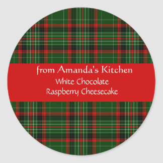 Christmas, Red Plaid, Custom, Holiday Stickers