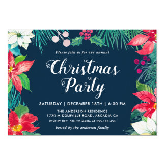 Christmas Red Poinsettia Floral Holiday Party Card