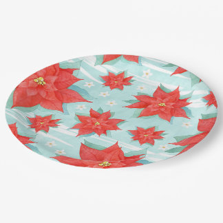 Christmas red  poinsettia paper plate