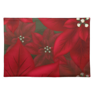 Christmas Red Poinsettia Placemat