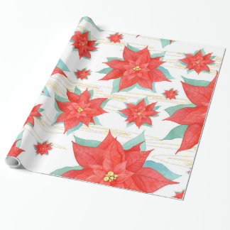 Christmas red poinsettia wrapping paper