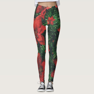 Christmas Red Poinsettias and Garland Leggings