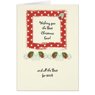 Christmas Red polka dots holly Card