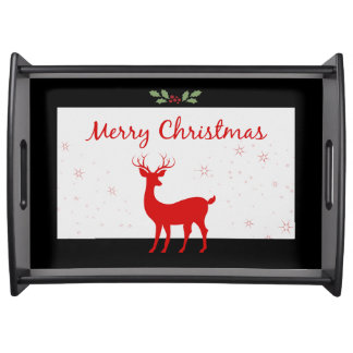Christmas Red Reindeer Deer Holly Berry Snowflakes Serving Tray