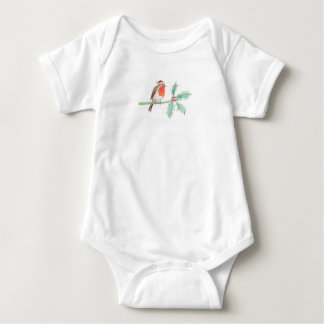 Christmas Red Robin on Holly Baby Bodysuit