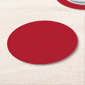 Christmas Red Round Paper Coaster
