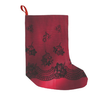 Christmas Red Satin Black Lace Floral Stocking