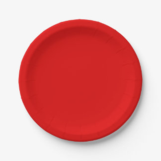 Christmas Red Solid Colour Paper Plate