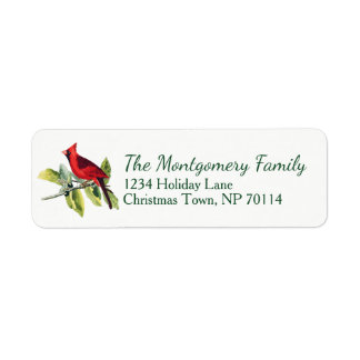 Christmas Red Watercolor Cardinal Family Return Address Label