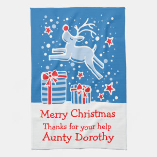 Christmas reindeer add a message kitchen towel
