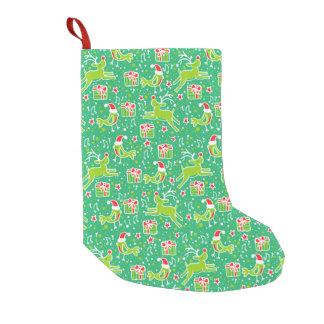 Christmas reindeer bird singing pattern stocking small christmas stocking