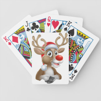 Christmas Reindeer Cartoon With Santa Hat Bicycle Playing Cards