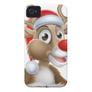 Christmas Reindeer Cartoon With Santa Hat Case-Mate iPhone 4 Case