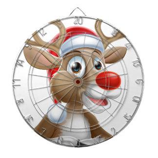 Christmas Reindeer Cartoon With Santa Hat Dartboard