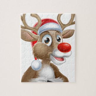Christmas Reindeer Cartoon With Santa Hat Jigsaw Puzzle