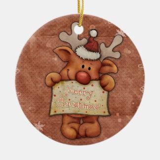 Christmas reindeer - ceramic ornament