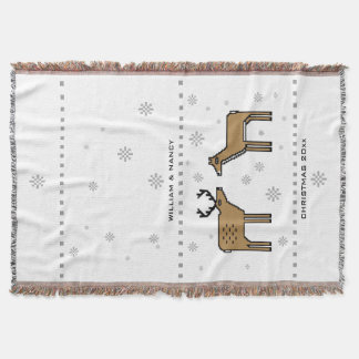 Christmas Reindeer Couple Add Names and Year Throw Blanket
