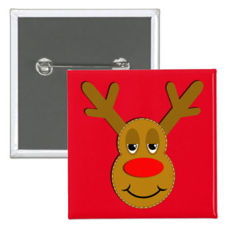 Christmas Reindeer Face 15 Cm Square Badge