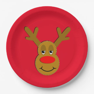 Christmas Reindeer Face Red 9 Inch Paper Plate