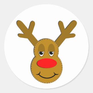 Christmas Reindeer Face Round Sticker