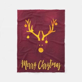 Christmas reindeer faux gold cute minimal burgundy fleece blanket