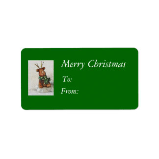 Christmas Reindeer Gift Tags Address Label