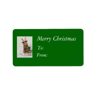 Christmas Reindeer Gift Tags Address Label