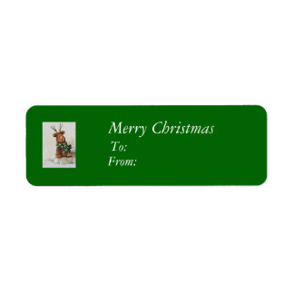 Christmas Reindeer Gift Tags Return Address Label