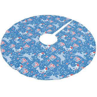 Christmas reindeer gifts and birds blue red skirt tree skirt