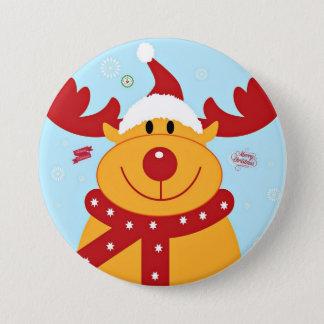 Christmas Reindeer Greetings 7.5 Cm Round Badge