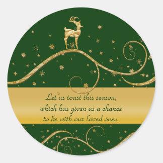 Christmas reindeer greetings round sticker
