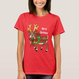 Christmas Reindeer Holiday cartoon t-shirt