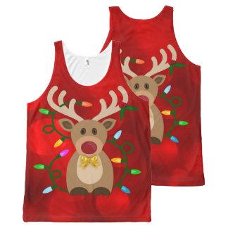Christmas Reindeer in Lights All-Over Print Singlet